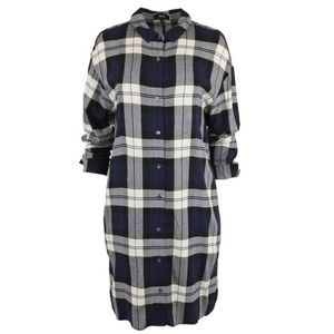 Theory Plaid Shirtdress in Navy Multi
